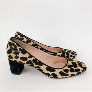 Kate Spade Calf Hair Leopard Print Block Heel